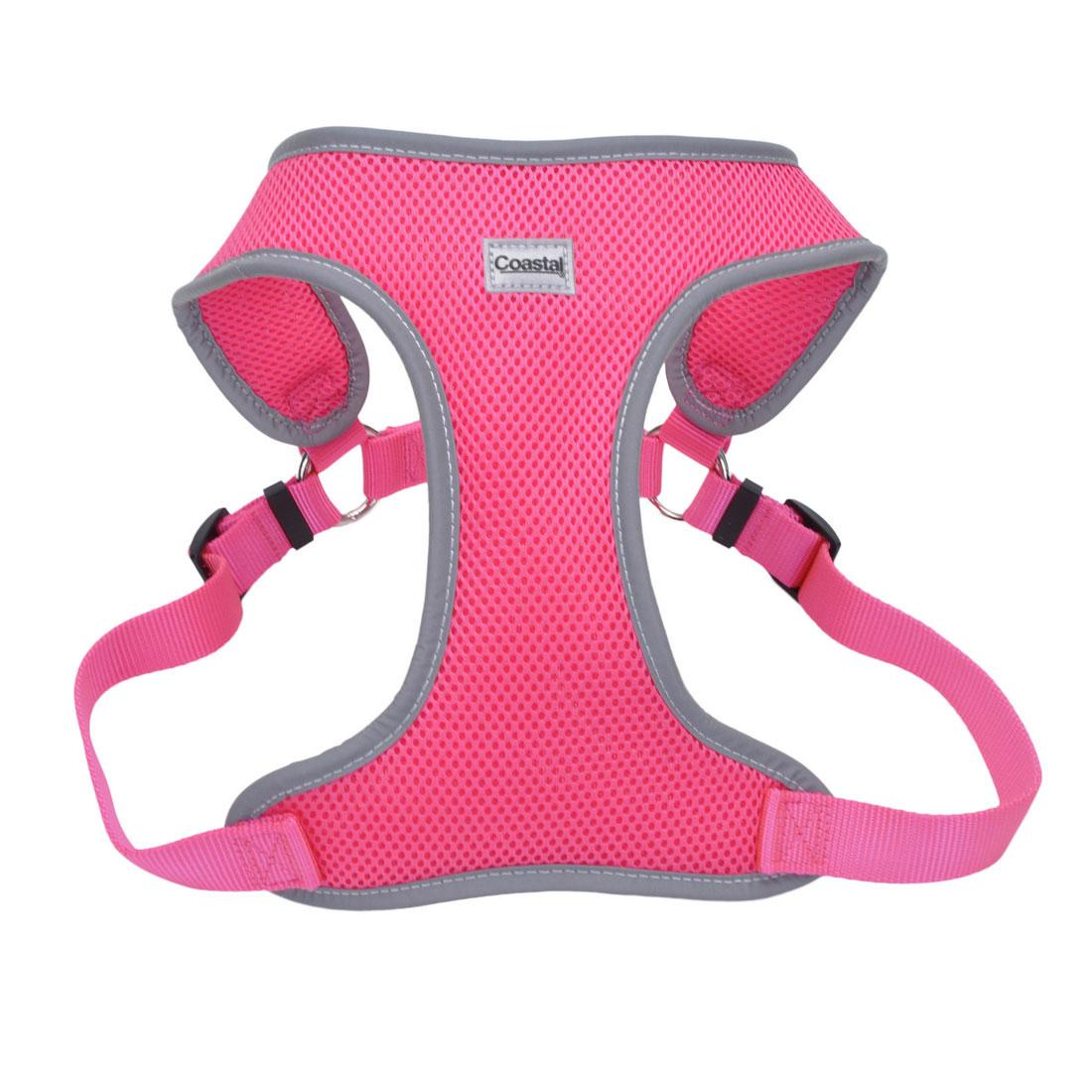 Coastal Comfort Soft Reflective Wrap Adjustable Dog Harness, Neon Pink, 3/4-in x 20-29-in