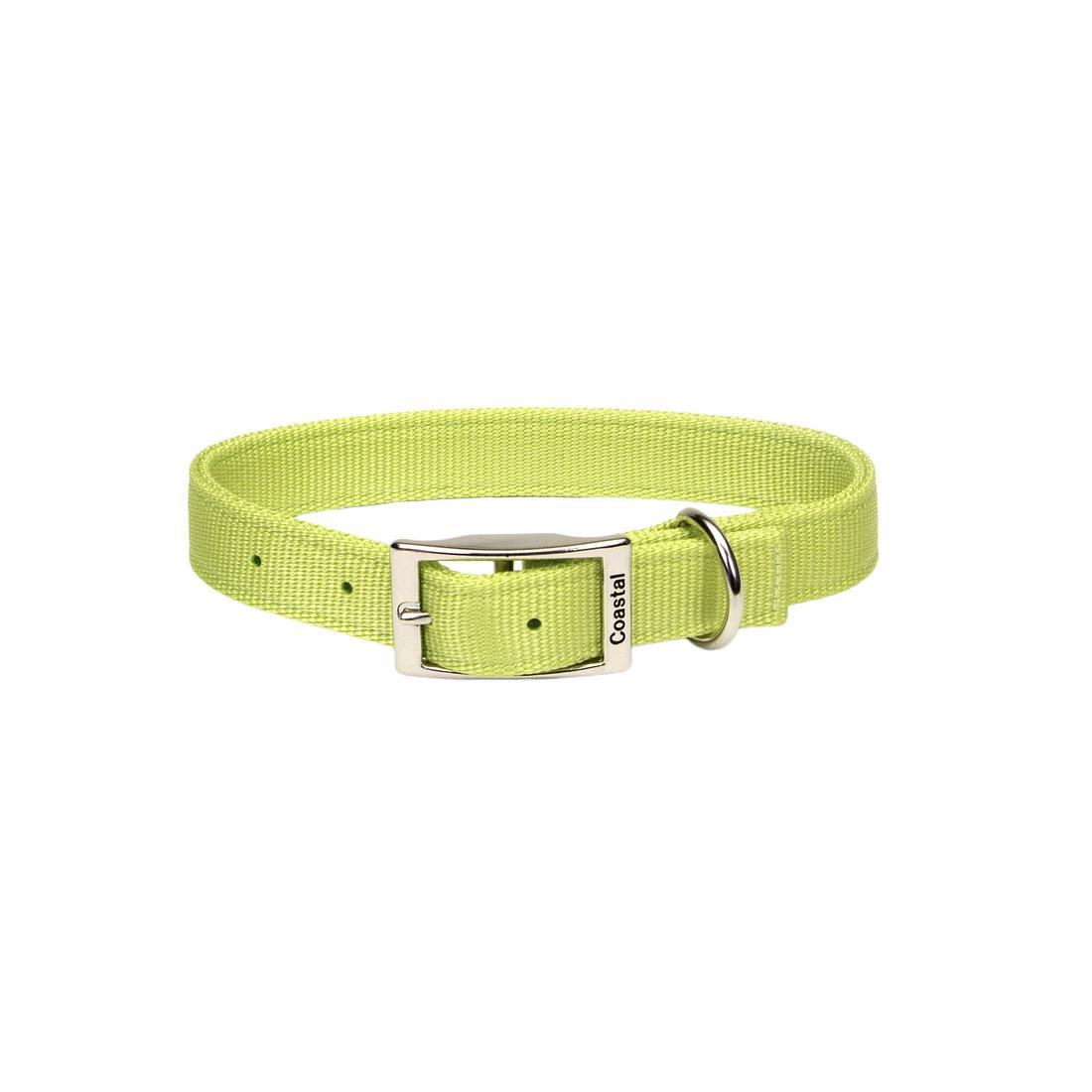 Coastal Double-Ply Dog Collar, Lime, 1-in x 18-in