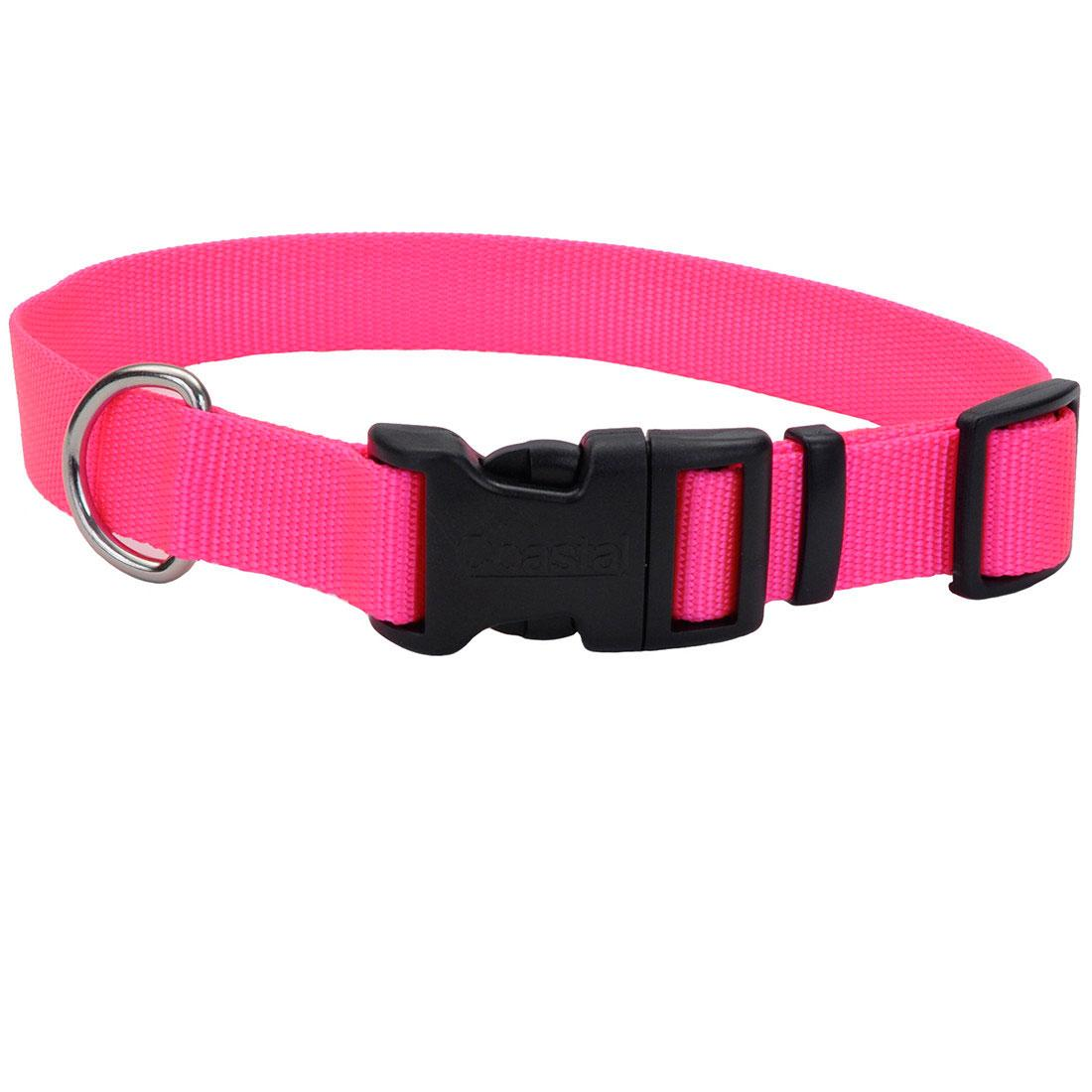 Coastal Adjustable Collar with Plastic Buckle for Dogs, Neon Pink, 1-in x 14-20-in