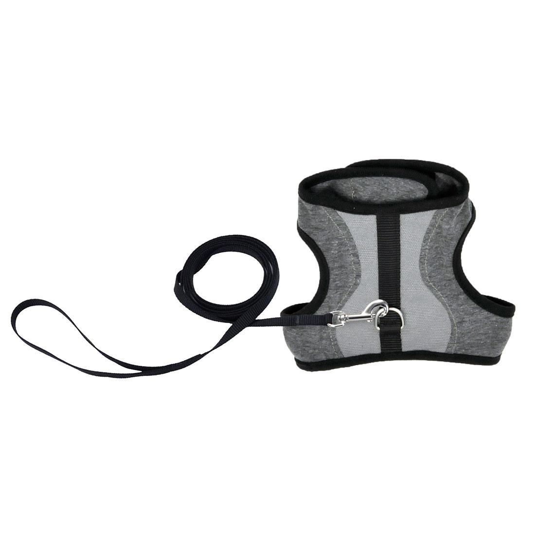 Coastal Adjustable Wrap Harness with Leash for Cats, Gray, 9-14-in