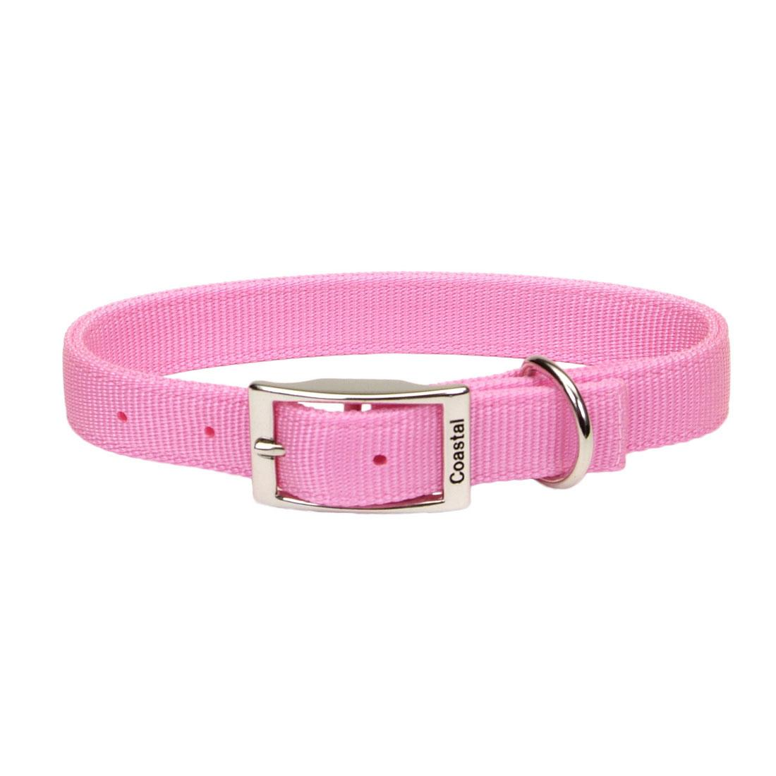 Coastal Double-Ply Dog Collar, Pink Bright, 1-in x 20-in
