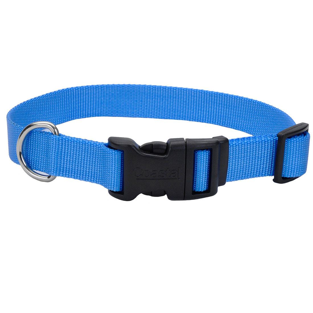 Coastal Adjustable Collar with Plastic Buckle for Dogs, Blue Lagoon, 5/8-in x 10-14-in