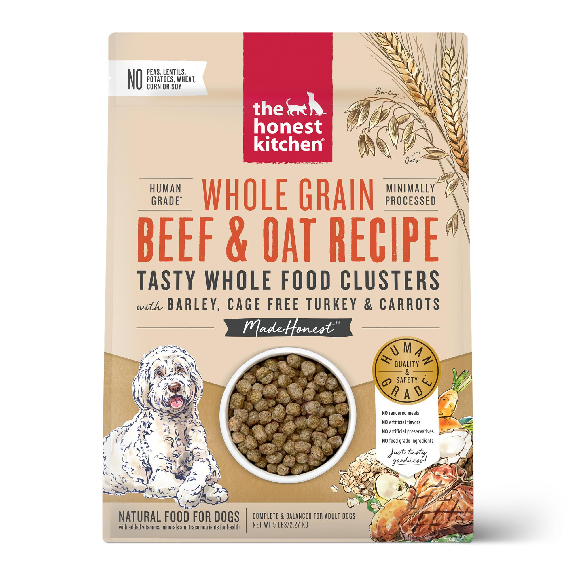 The Honest Kitchen Whole Food Clusters Beef, Turkey & Oat Dry Dog Food, 5-lb