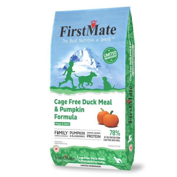 FIrstmate Limited Ingredient Cage-Free Duck Meal & Pumpkin Formula Dry Dog Food, 25-lb