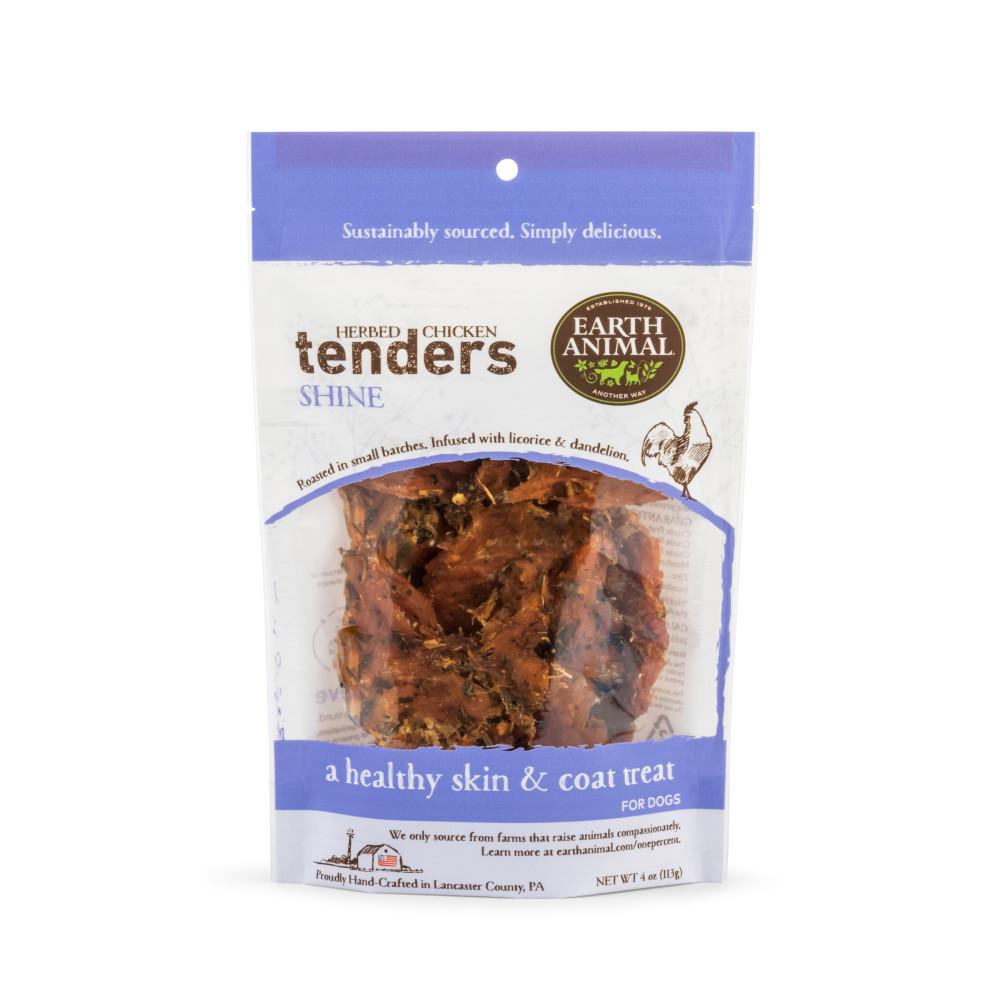 Earth Animal Tenders Shine Chicken Jerky Dog Treats, 4-oz