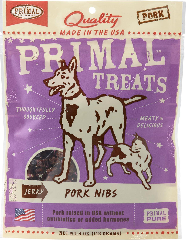 Primal Treats Pork Nibs Jerky Dog & Cat Treats, 4-oz bag