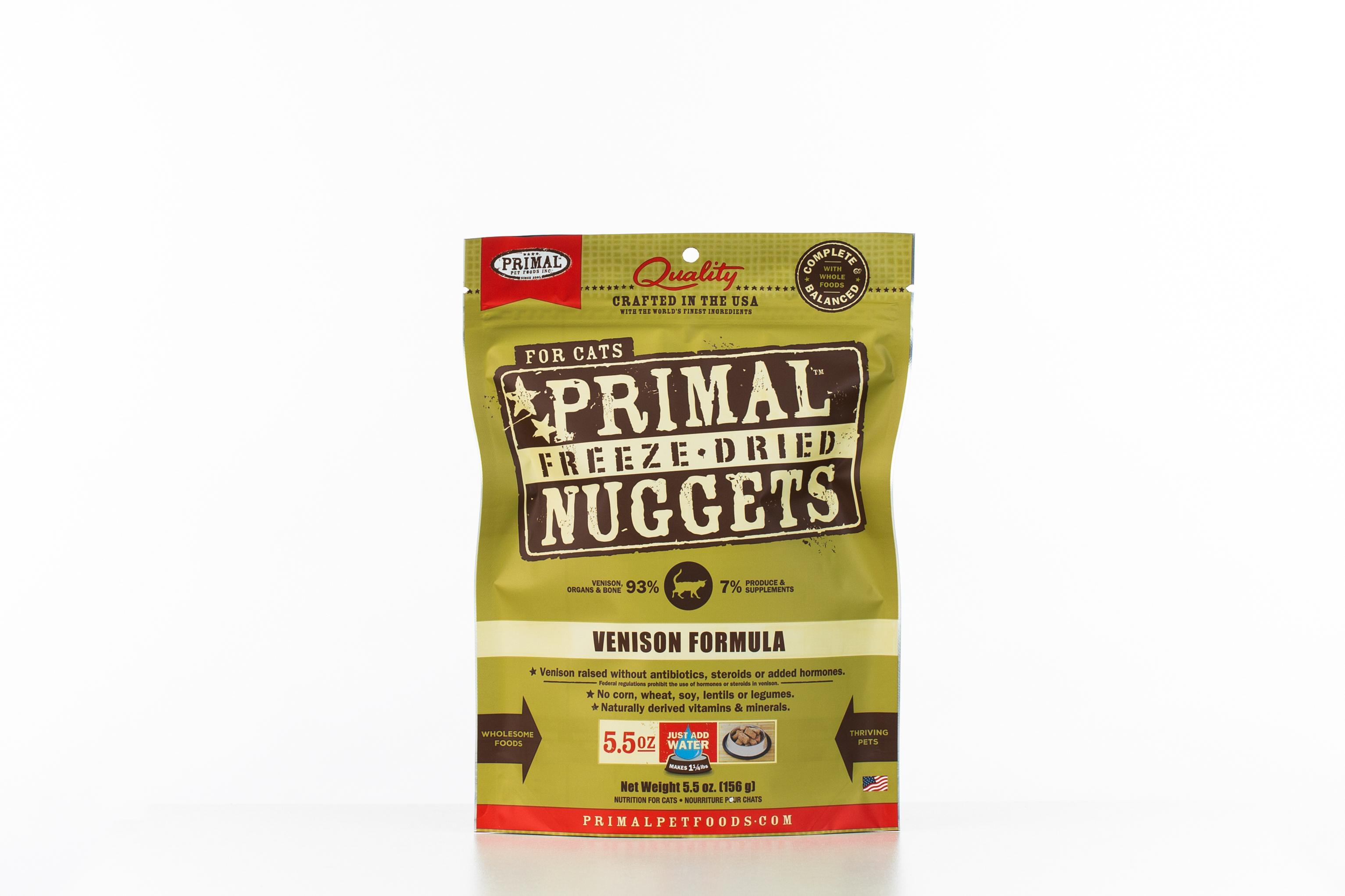 Primal Venison Nuggets Grain-Free Raw Freeze-Dried Cat Food Image