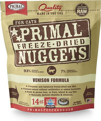 Primal Venison Nuggets Grain-Free Raw Freeze-Dried Cat Food, 14-oz bag