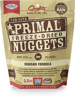 Primal Venison Nuggets Grain-Free Raw Freeze-Dried Cat Food, 5.5-oz bag