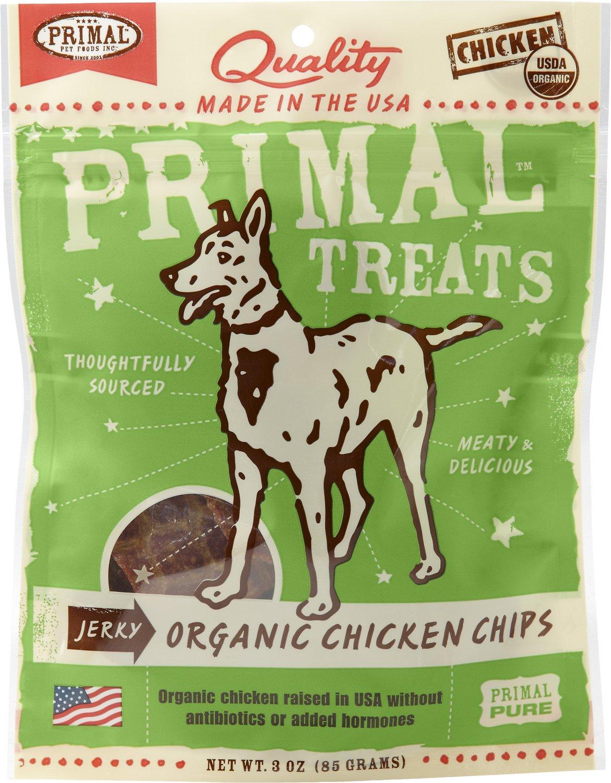 Primal Treats Organic Chicken Chips Jerky Dog Treats, 3-oz bag