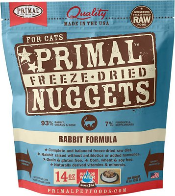Primal Rabbit Formula Nuggets Grain-Free Raw Freeze-Dried Cat Food, 14-oz bag