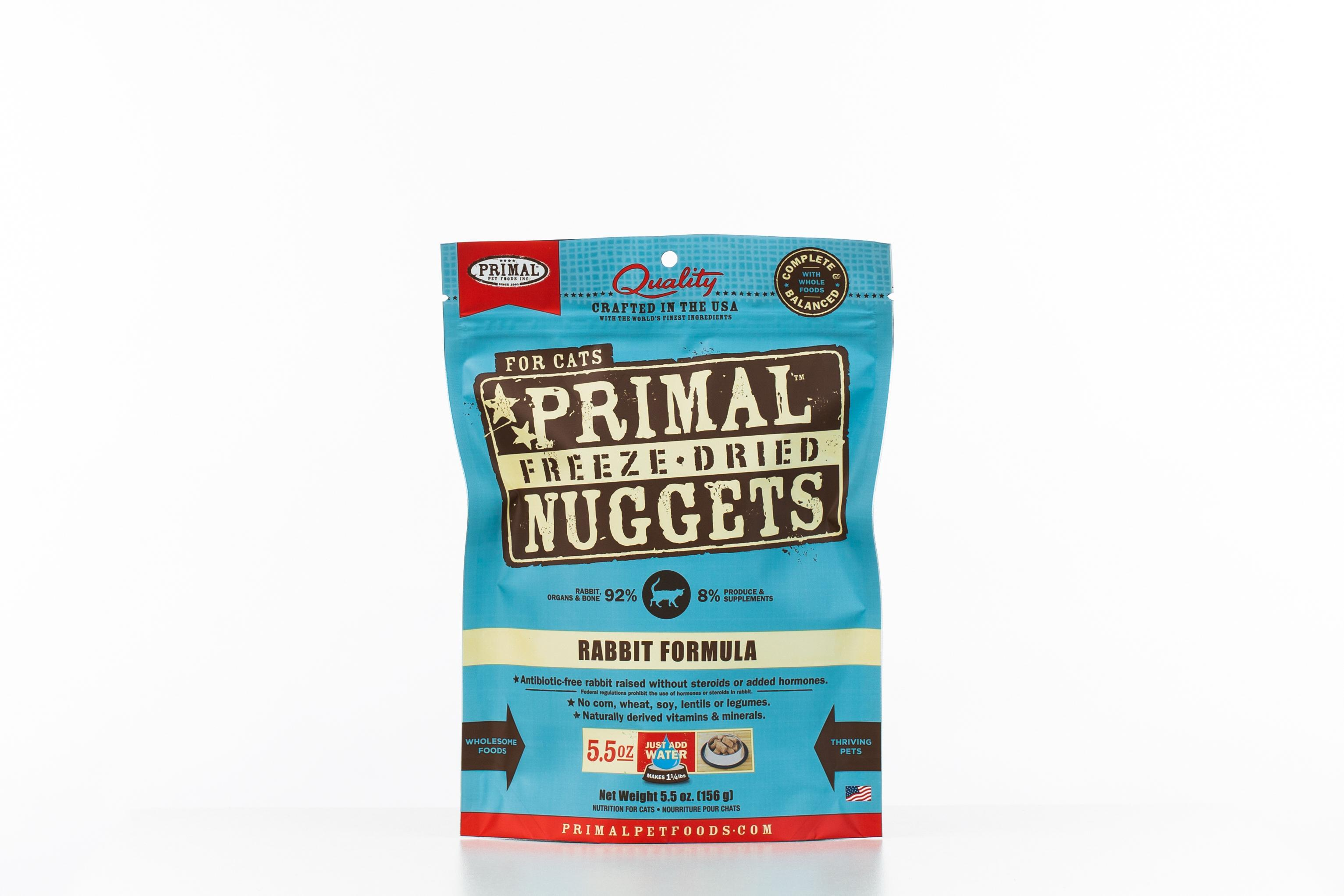 Primal Raw Freeze-Dried Nuggets Rabbit Formula Cat Food, 5.5-oz bag