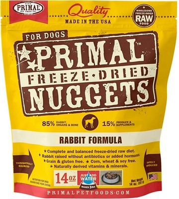 Primal Rabbit Formula Nuggets Grain-Free Raw Freeze-Dried Dog Food, 14-oz bag