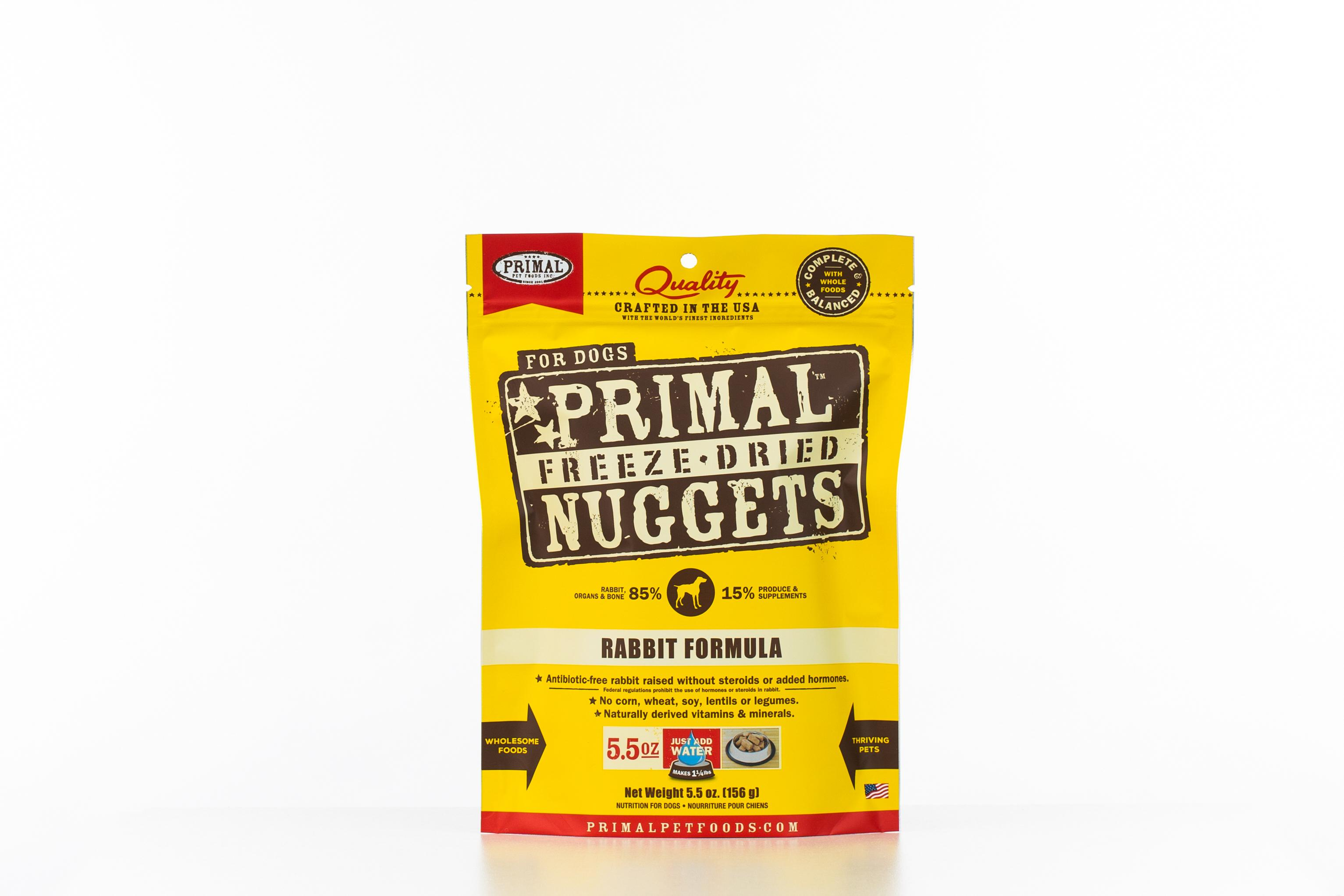 Primal Raw Freeze-Dried Nuggets Rabbit Formula Dog Food Image