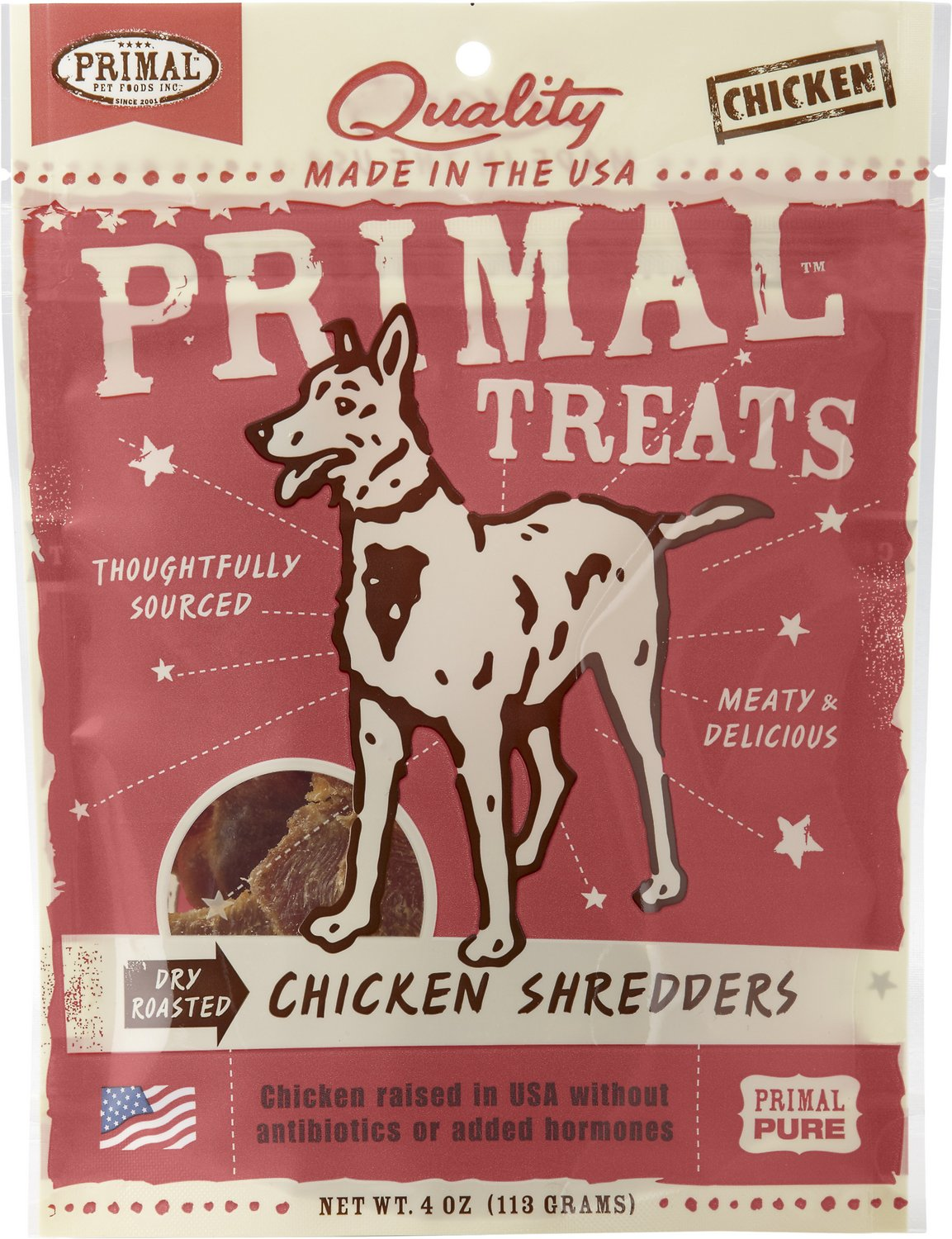 Primal Treats Chicken Shredders Dry Roasted Dog Treats, 4-oz bag