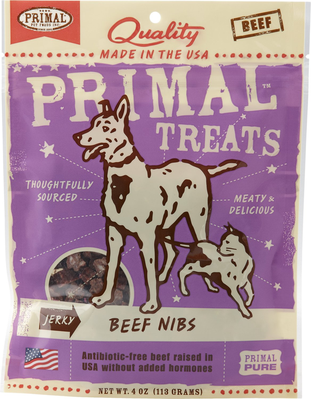 Primal Treats Beef Nibs Jerky Dog & Cat Treats, 4-oz bag (Weights: 4ounces) Image