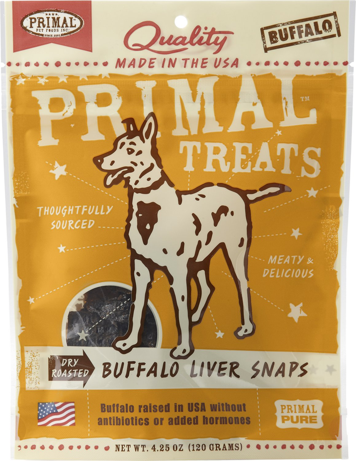 Primal Treats Buffalo Liver Snaps Dry Roasted Dog Treats, 4.25-oz bag