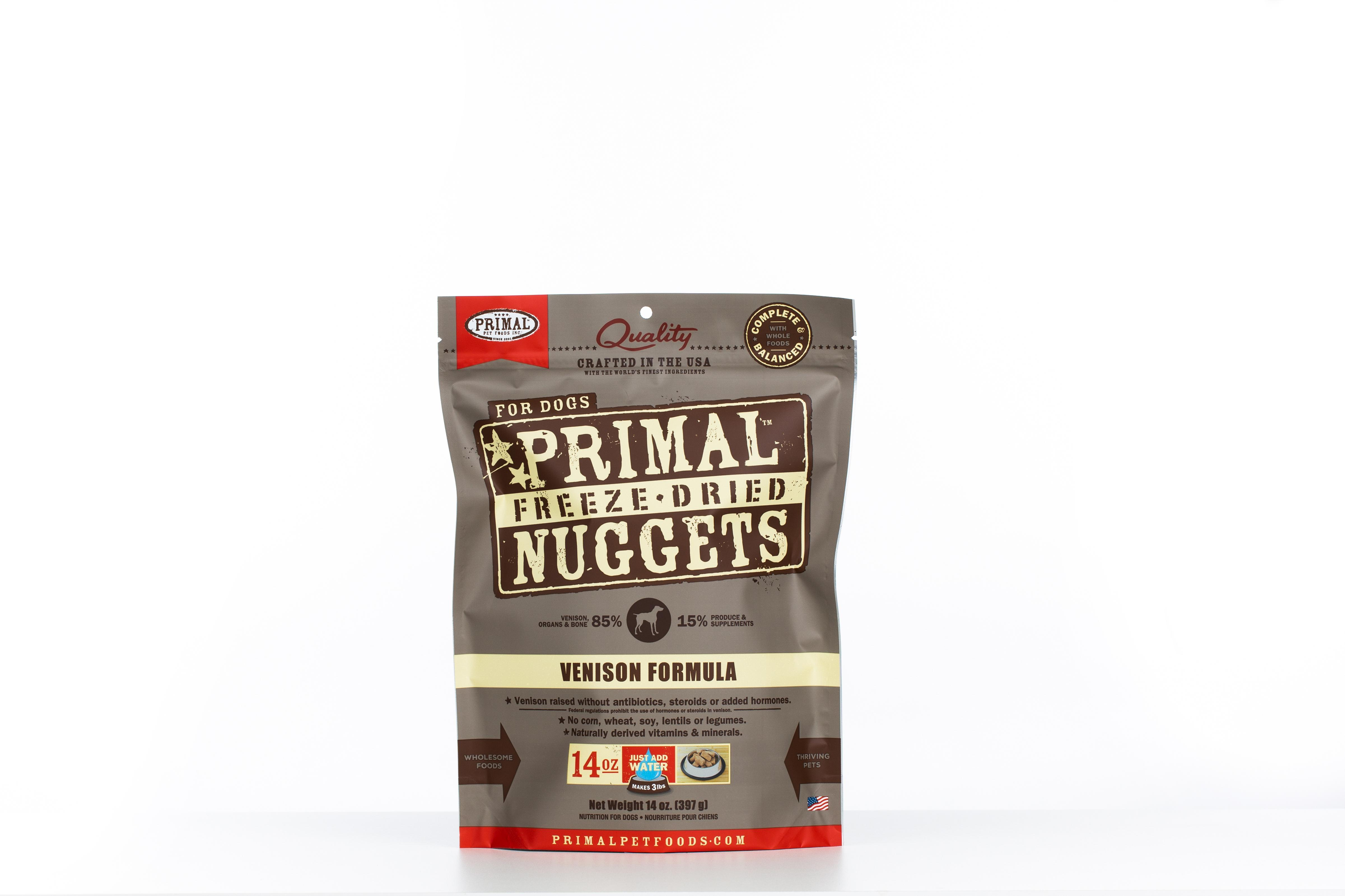 Primal Venison Formula Nuggets Grain-Free Raw Freeze-Dried Dog Food, 14-oz