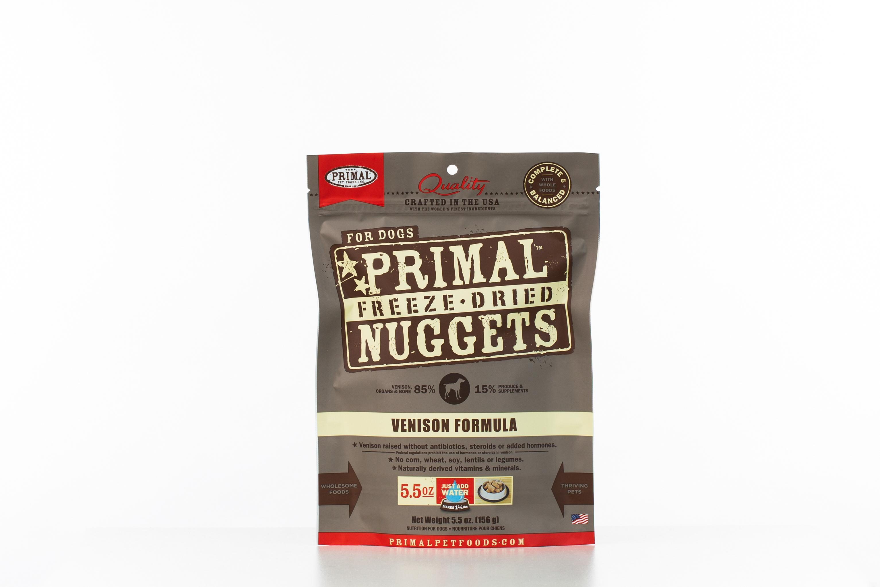 Primal Venison Formula Nuggets Grain-Free Raw Freeze-Dried Dog Food, 5.5-oz