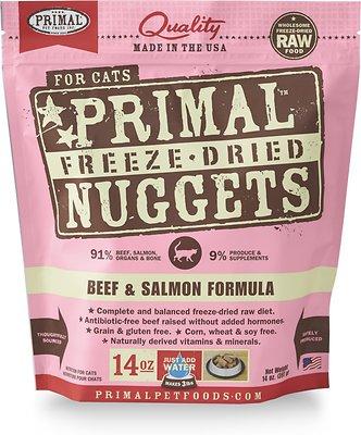 Primal Beef & Salmon Formula Nuggets Grain-Free Raw Freeze-Dried Cat Food, 14-oz bag