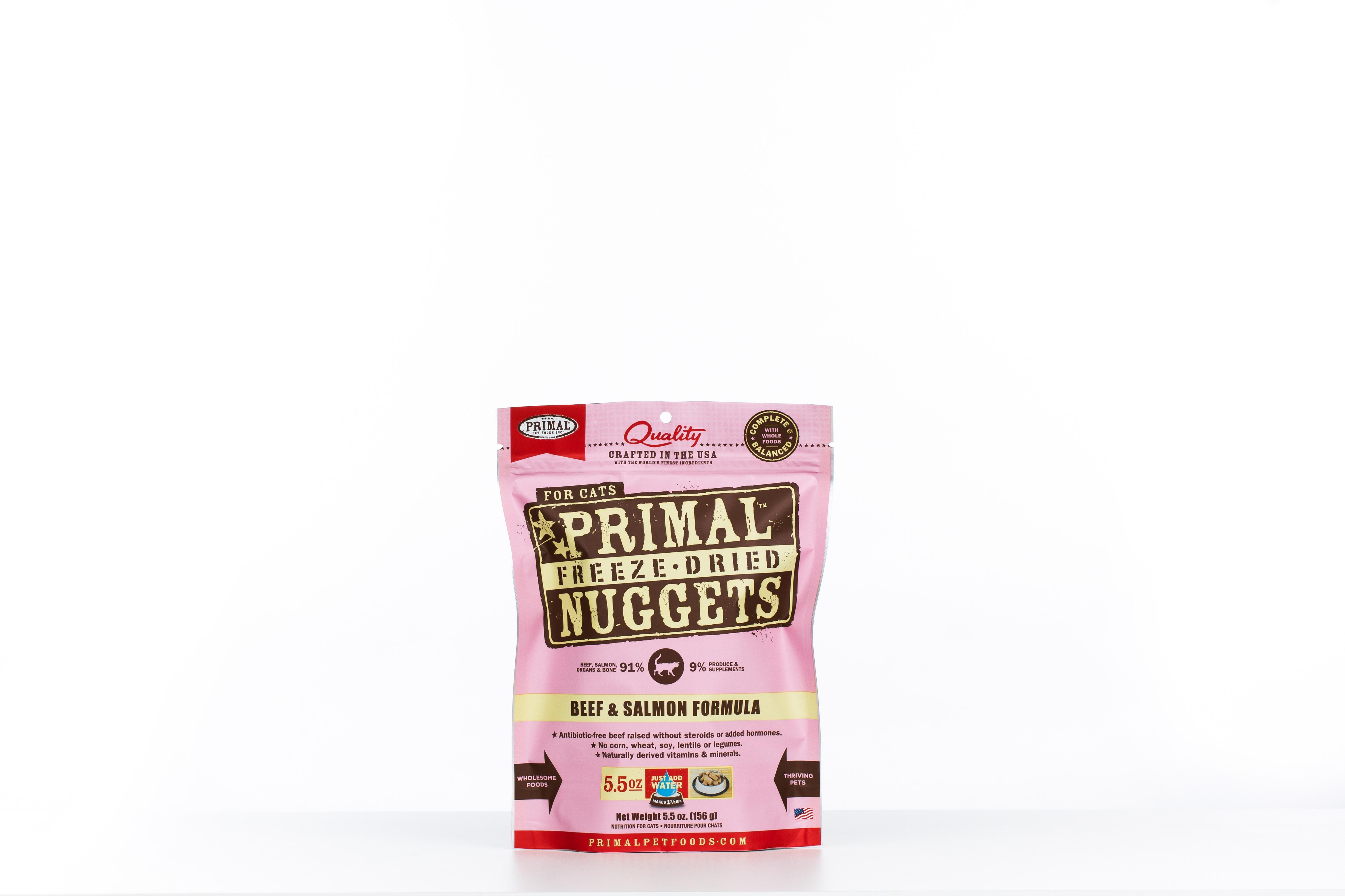 Primal Beef & Salmon Formula Nuggets Grain-Free Raw Freeze-Dried Cat Food Image