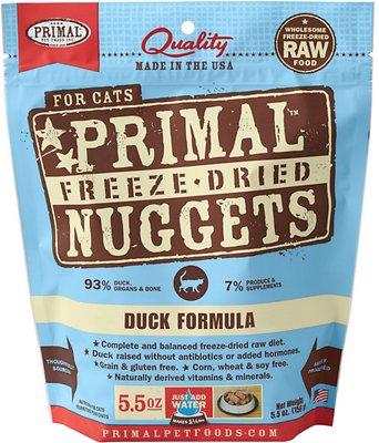 Primal Duck Formula Nuggets Grain-Free Raw Freeze-Dried Cat Food, 5.5-oz bag