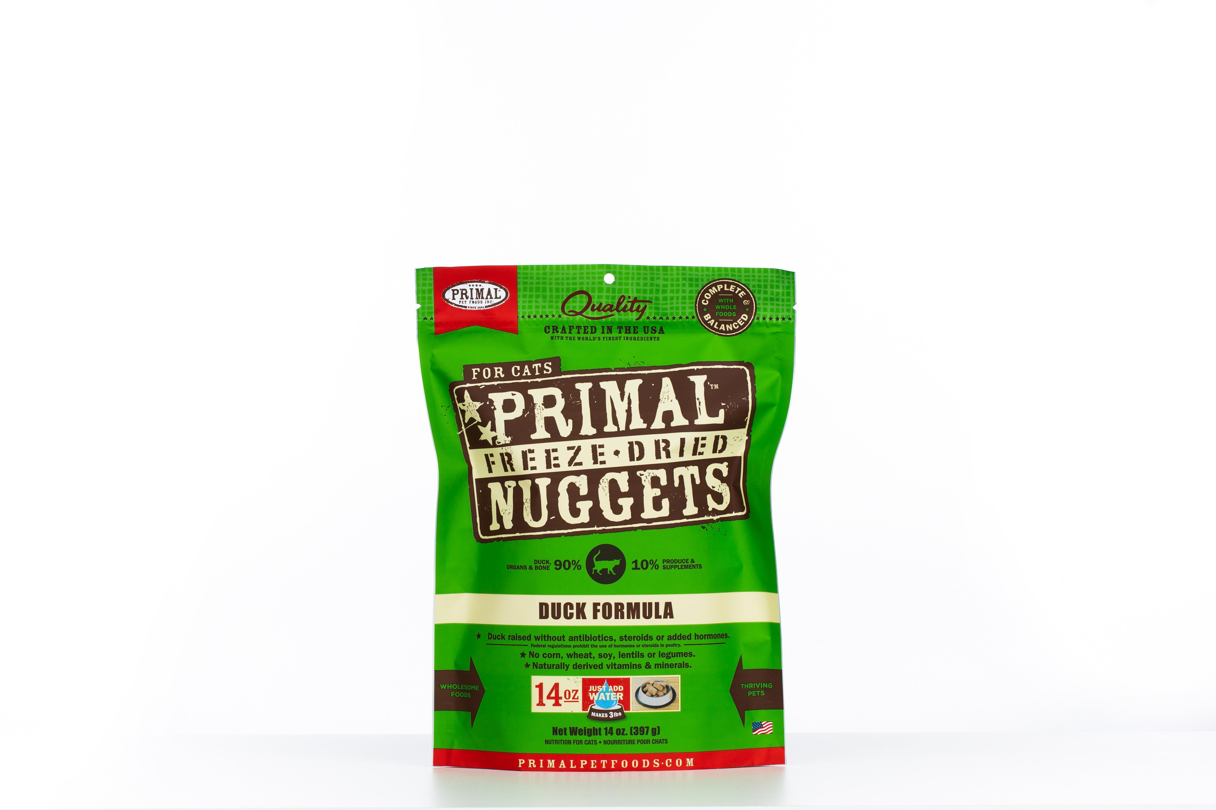 Primal Duck Formula Nuggets Grain-Free Raw Freeze-Dried Cat Food, 14-oz bag