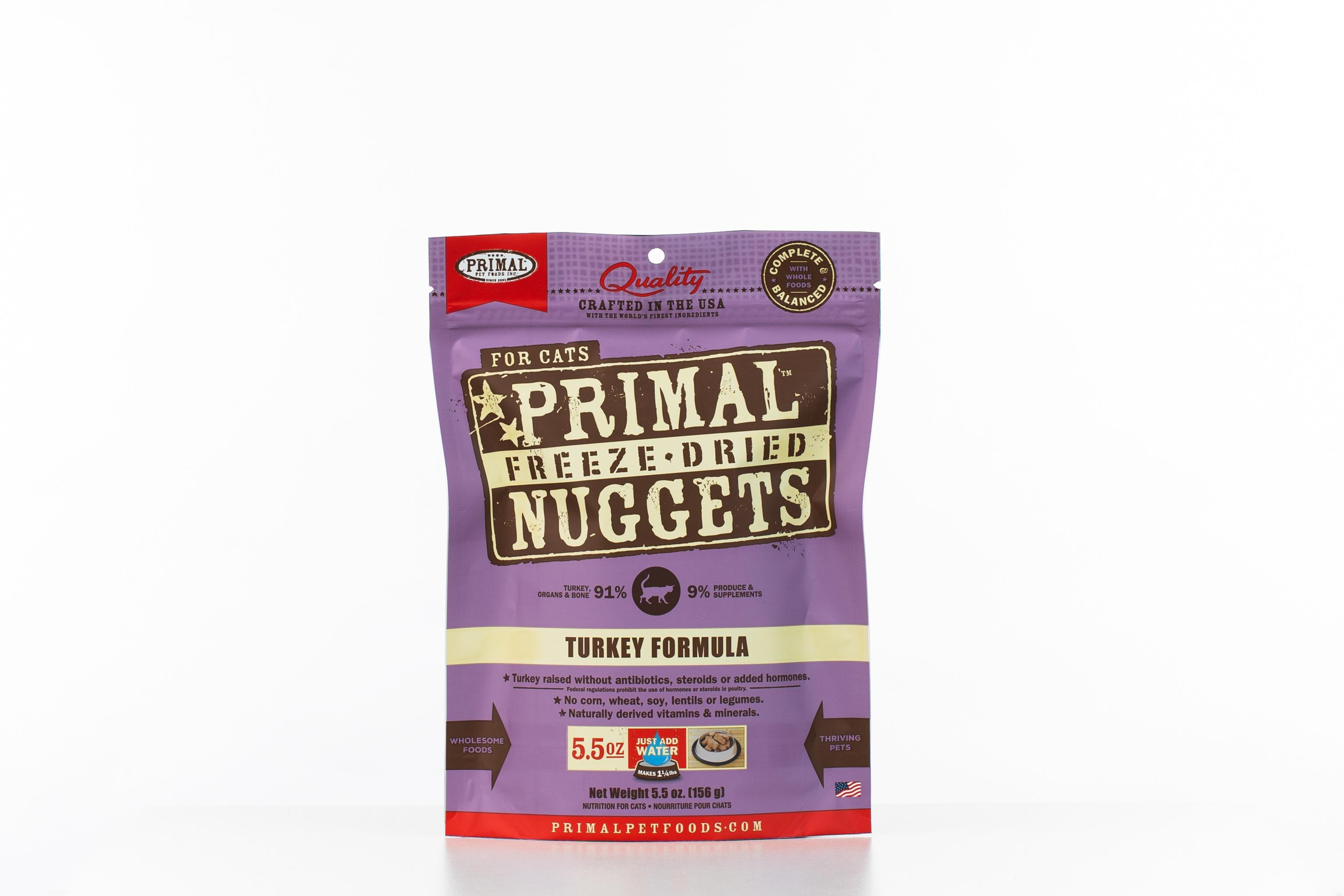 Primal Turkey Formula Nuggets Grain-Free Raw Freeze-Dried Cat Food Image