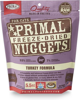 Primal Turkey Formula Nuggets Grain-Free Raw Freeze-Dried Cat Food, 5.5-oz bag