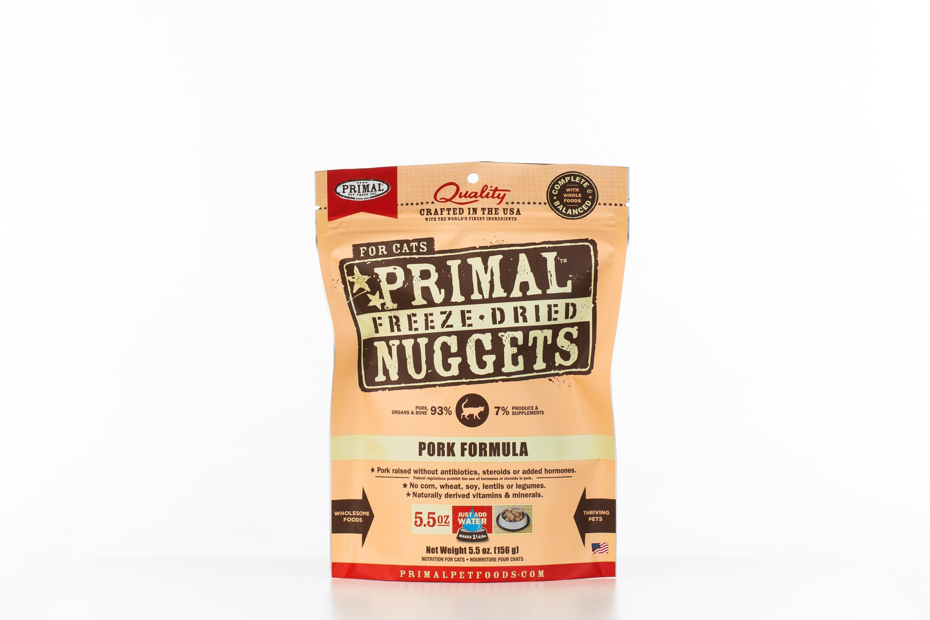 Primal Pork Formula Nuggets Grain-Free Raw Freeze-Dried Cat Food Image