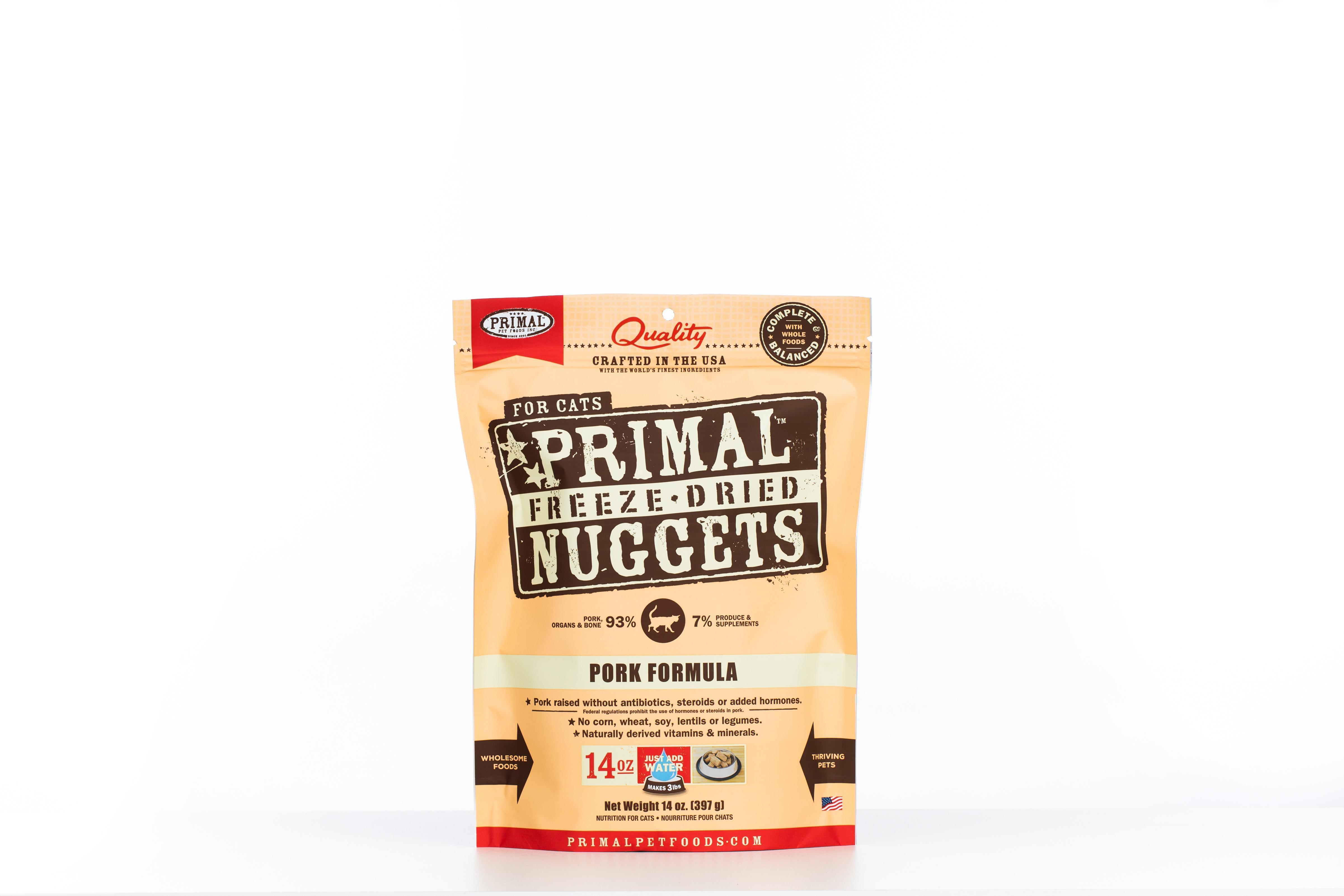 Primal Pork Formula Nuggets Grain-Free Raw Freeze-Dried Cat Food, 14-oz bag