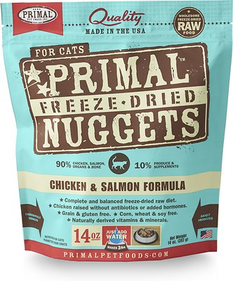 Primal Chicken & Salmon Formula Nuggets Grain-Free Raw Freeze-Dried Cat Food, 14-oz bag