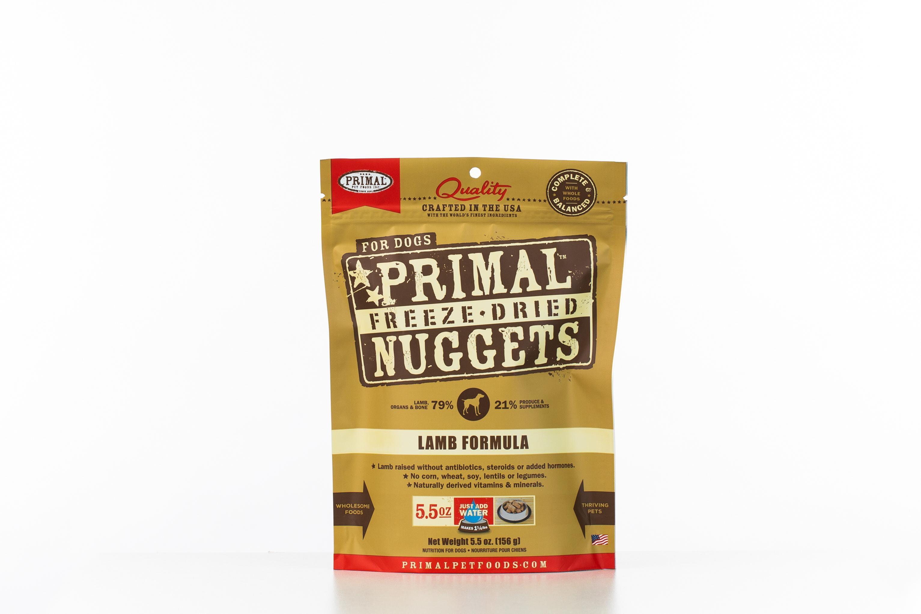 Primal Lamb Formula Nuggets Grain-Free Raw Freeze-Dried Dog Food, 5.5-oz bag