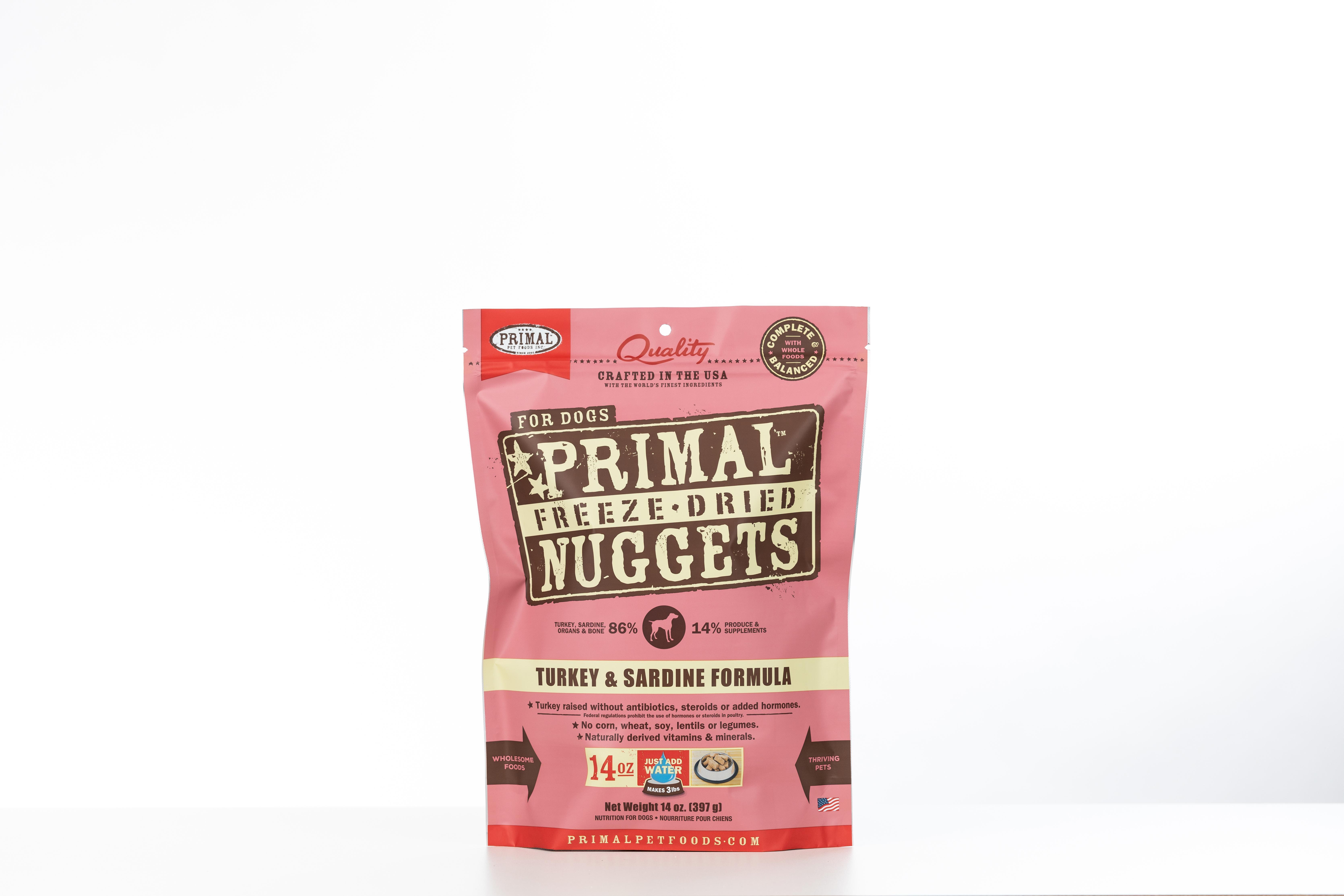 Primal Turkey & Sardine Formula Nuggets Grain-Free Raw Freeze-Dried Dog Food, 14-oz bag
