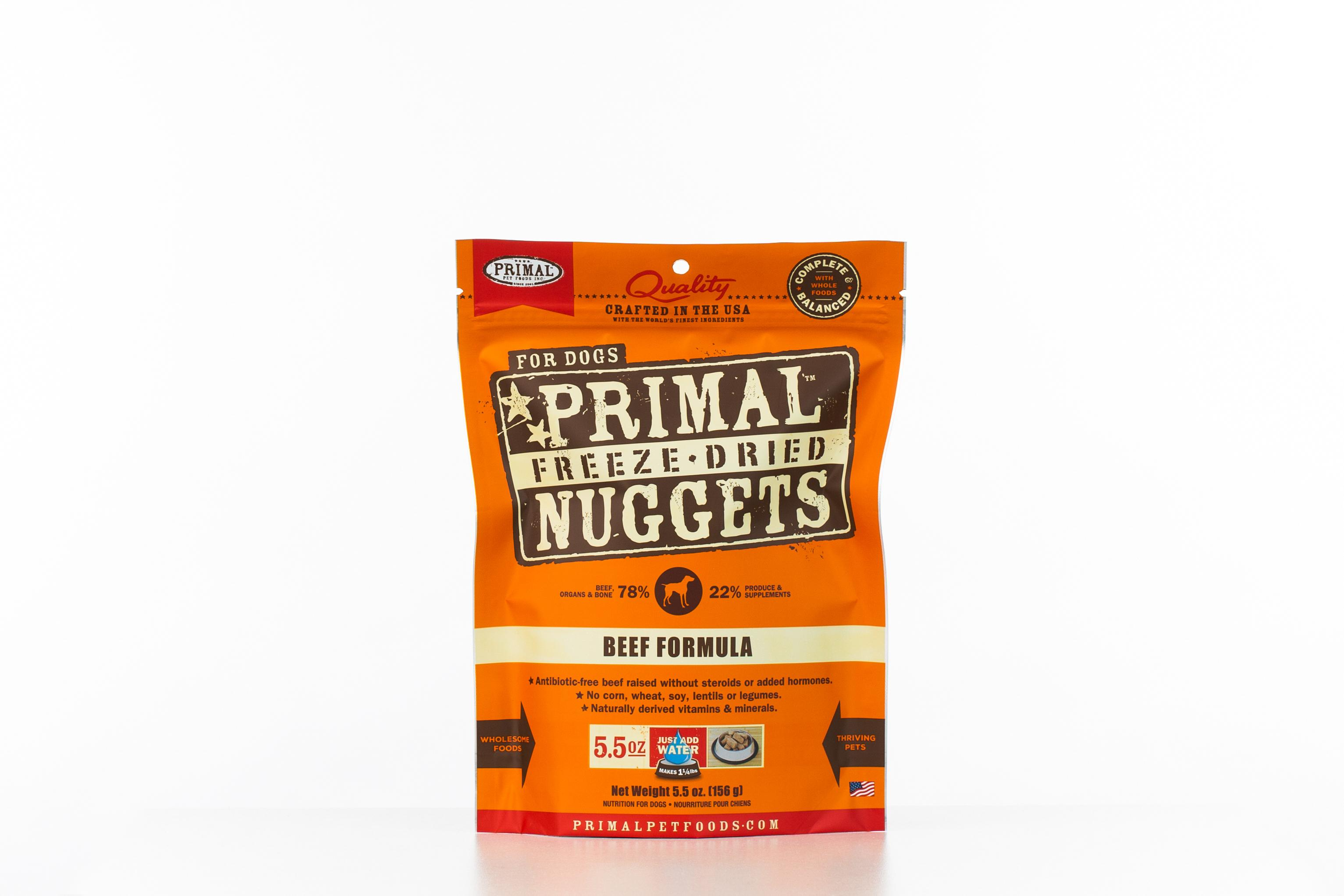 Primal Raw Freeze-Dried Nuggets Beef Formula Dog Food Image
