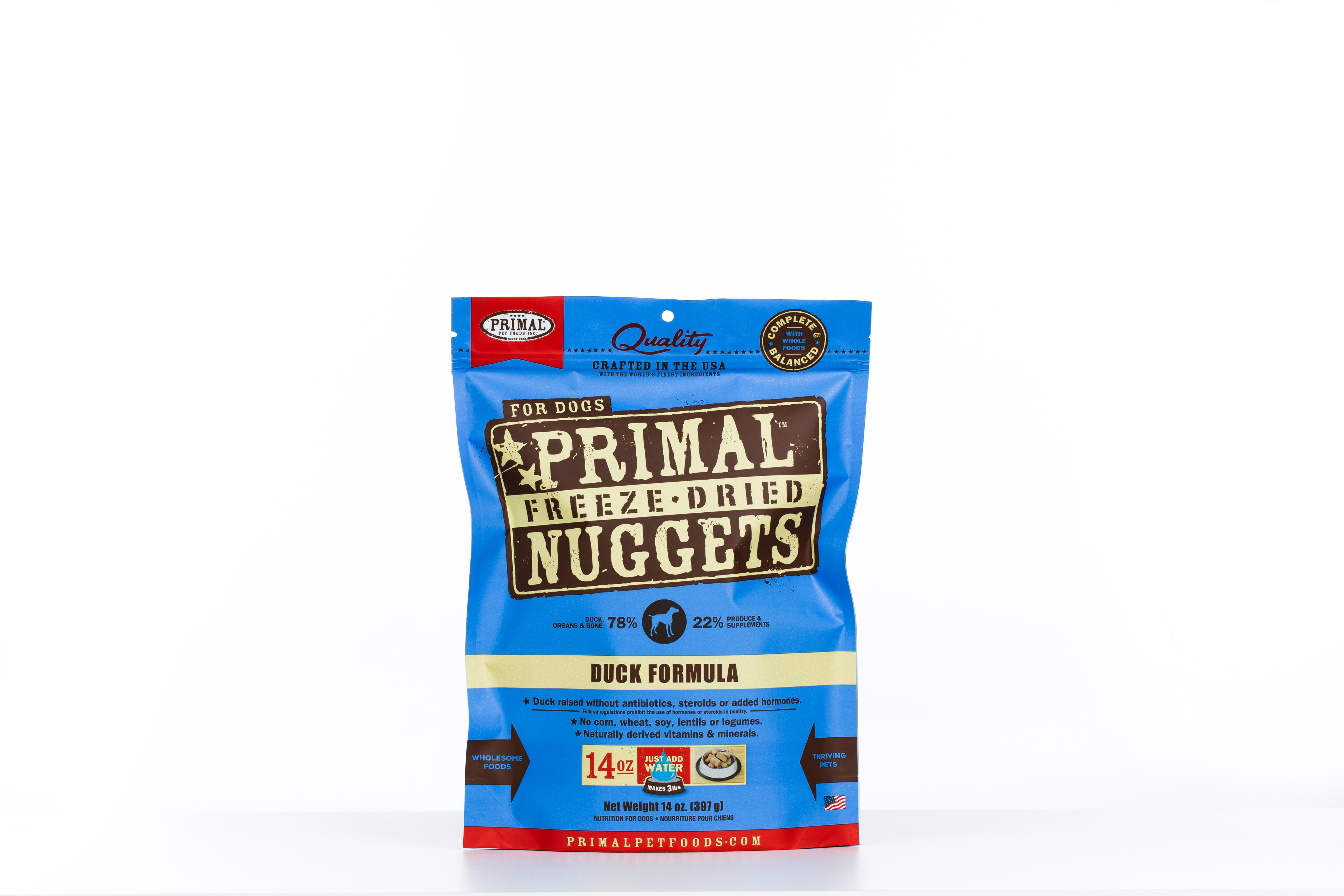 Primal Duck Formula Nuggets Grain-Free Raw Freeze-Dried Dog Food, 14-oz bag