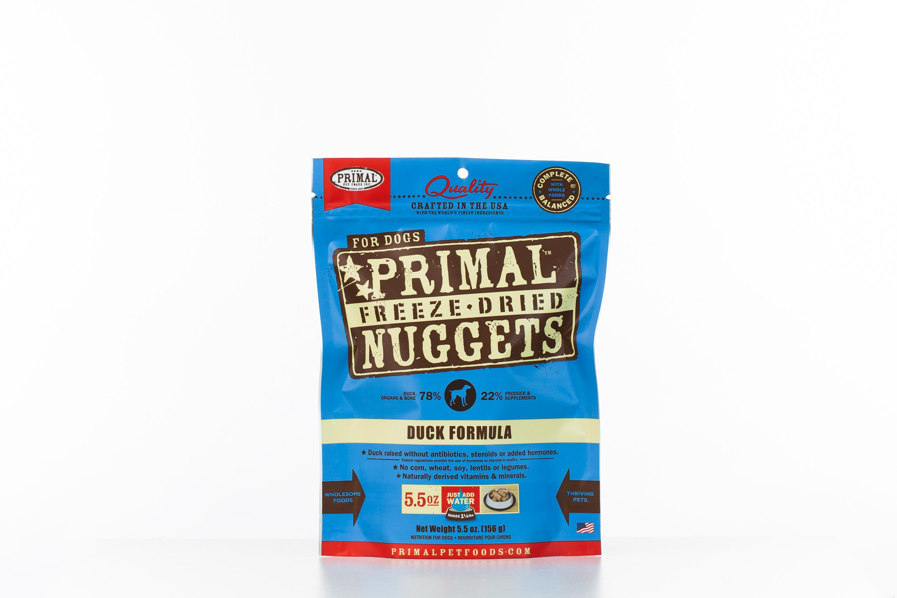 Primal Duck Formula Nuggets Grain-Free Raw Freeze-Dried Dog Food, 5.5-oz bag