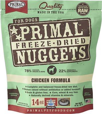 Primal Chicken Formula Nuggets Grain-Free Raw Freeze-Dried Dog Food, 14-oz bag