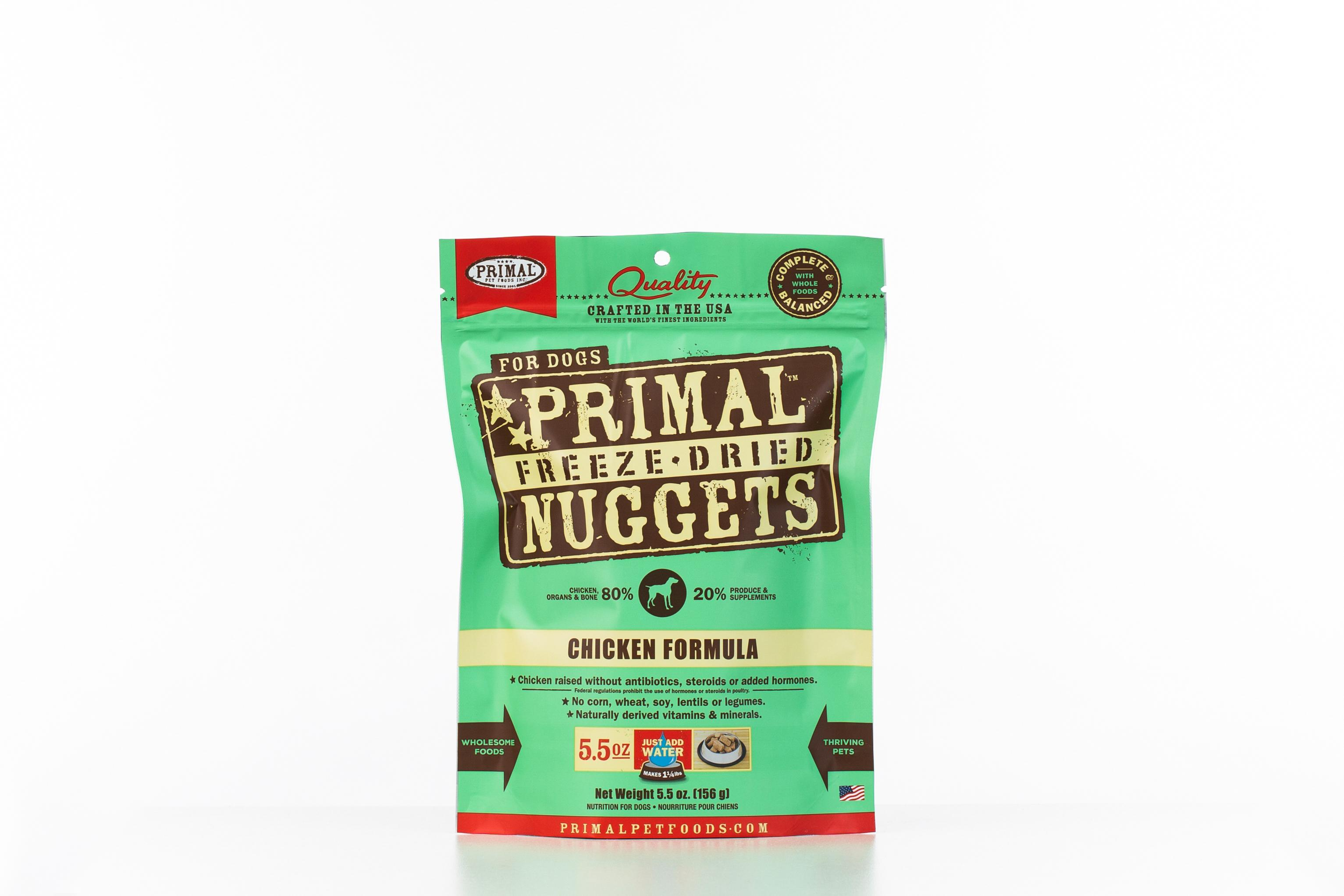 Primal Chicken Formula Nuggets Grain-Free Raw Freeze-Dried Dog Food, 5.5-oz bag