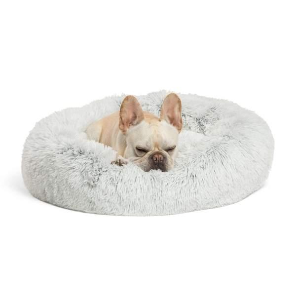 Best Friends by Sheri The Original Calming Donut Shag Fur Pet Bed, Frost Image