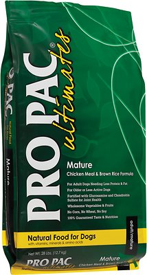 Pro Pac Ultimates Chicken Meal & Brown Rice Mature Dry Dog Food, 28-lb bag