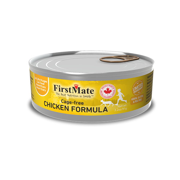 FirstMate Limited Ingredient Cage-Free Chicken Wet Cat food, 3.2-oz