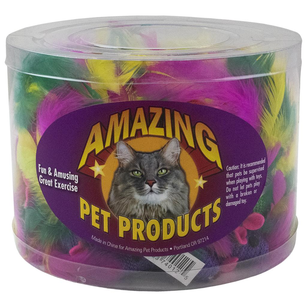 Amazing Pet Products Knitted Mouse with Feather Tail Cat Toy, 48-pk