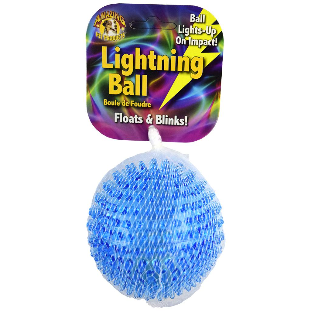 Amazing Pet Products Lightning Ball Floats & Blinks Dog Toy, 3.3-in
