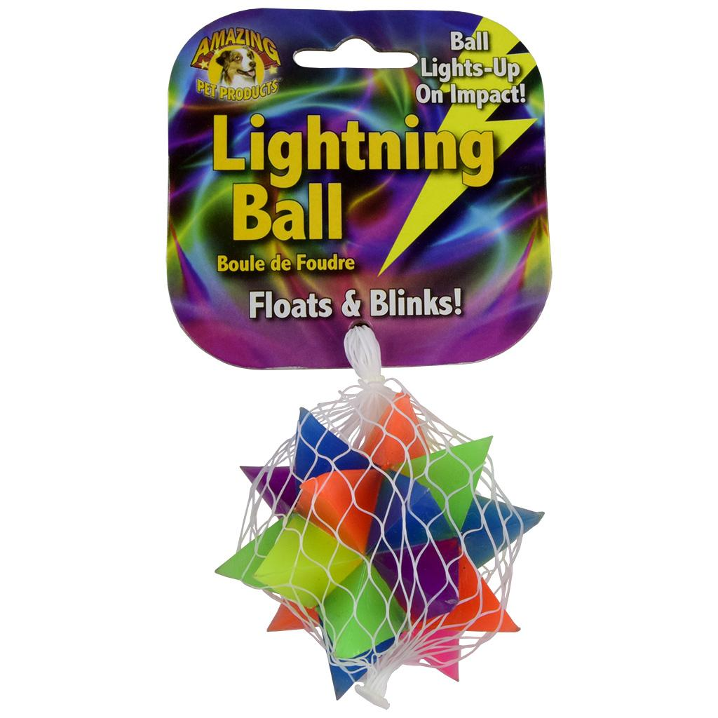 Amazing Pet Products Lightning Ball Star Floats & Blinks Dog Toy, 2.8-in