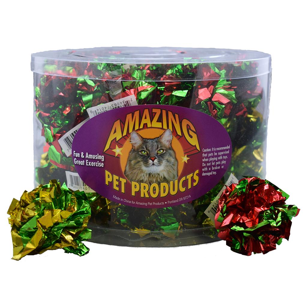 Amazing Pet Products Mylar Crinkle Ball Cat Toy Image