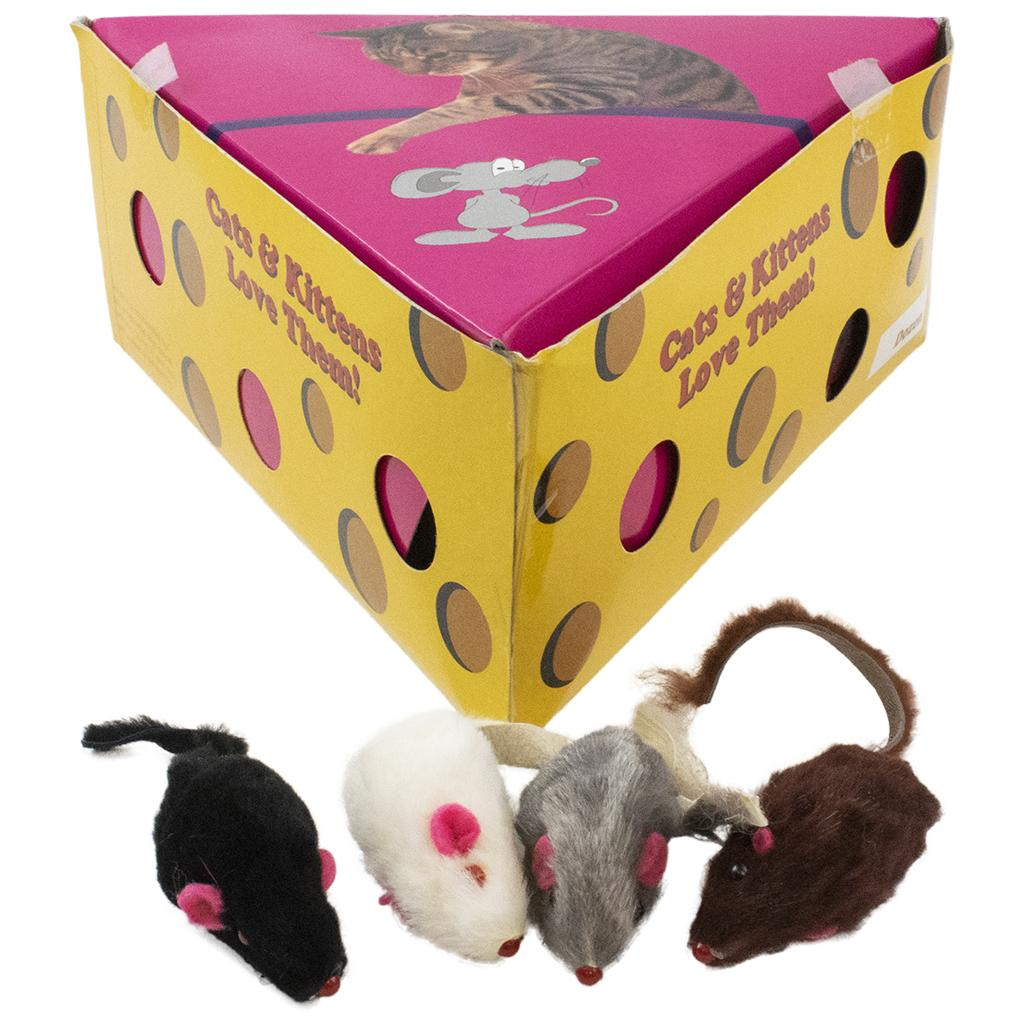 Amazing Pet Products Fur Mouse in Cheese Box Cat Toy, 2-in, 48-pk