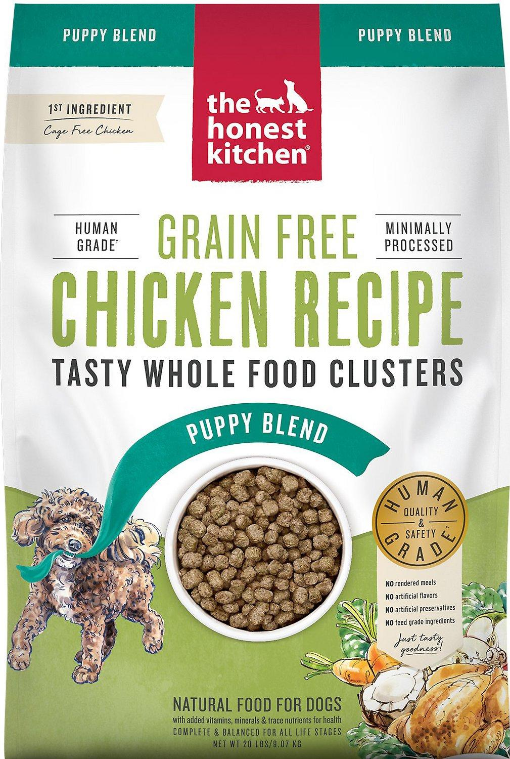 The Honest Kitchen Whole Food Clusters Chicken Puppy Blend Grain-Free Dehydrated Dog Food, 20-lb