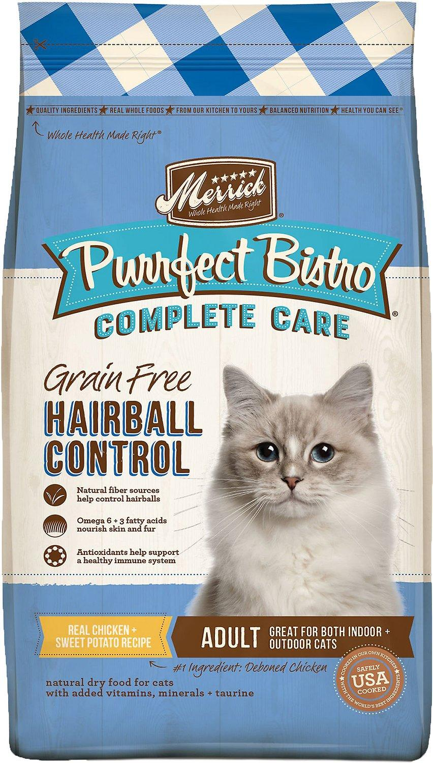 Merrick Purrfect Bistro Complete Care Hairball Control Chicken & Sweet Potato Grain-Free Dry Cat Food, 12-lb