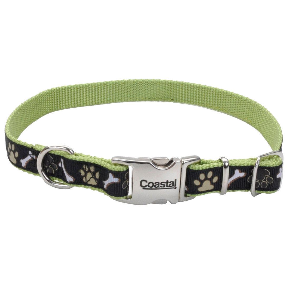 Ribbon Adjustable Collar with Metal Buckle for Dogs, Brown Paws & Bones, 5/8-in x 12-18-in